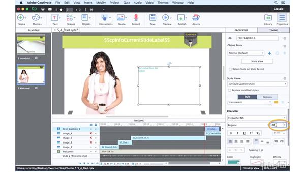 Creating timeline animations: Captivate 9 Essential Training