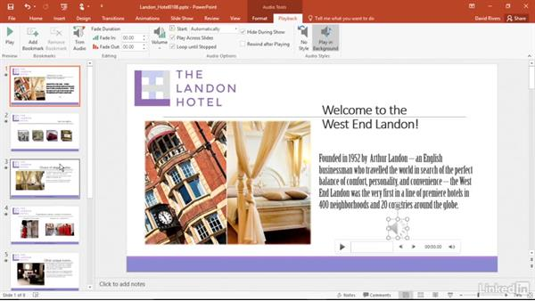 Play sounds across multiple slides: PowerPoint 2016 Power Shortcuts