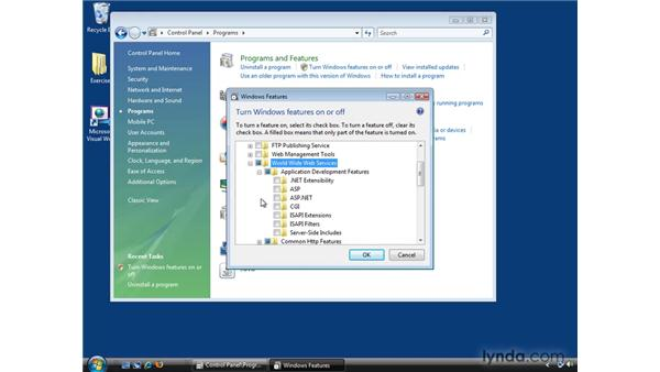 Installing Information Internet Services (IIS) on Windows Vista, Windows 7, and Windows 8: ASP.NET Essential Training