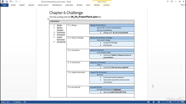 ✓ Challenge: Manage multiple presentations: PowerPoint 2013: Prepare for the Microsoft Office Specialist Certification Exam (77-422)