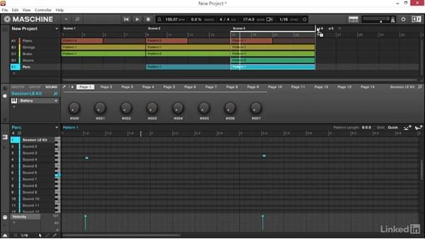 Arranging your song idea using scene and pattern variations: Using KOMPLETE Sounds in MASCHINE
