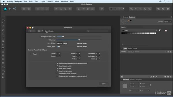 Exploring the general Preferences settings: Affinity Designer Essential Training