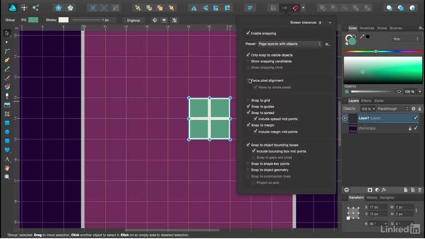 Snapping and Force Pixel Alignment: Affinity Designer Essential Training
