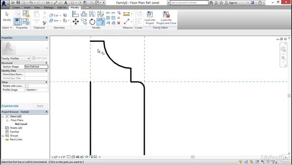 Creating a chair rail profile: Architectural Families in Revit
