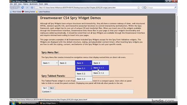 Spry widget overview: Dreamweaver CS4: Introduction to Spry