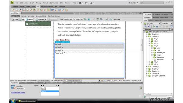 Adding Spry widgets: Dreamweaver CS4: Introduction to Spry