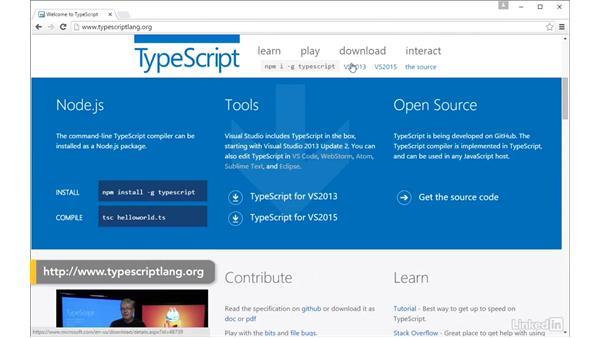Installing TypeScript in Visual Studio: TypeScript Essential Training