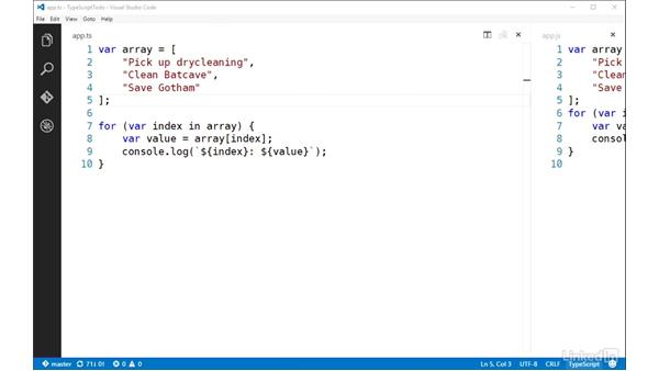 For...of loops: TypeScript Essential Training