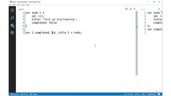 Destructuring: TypeScript Essential Training