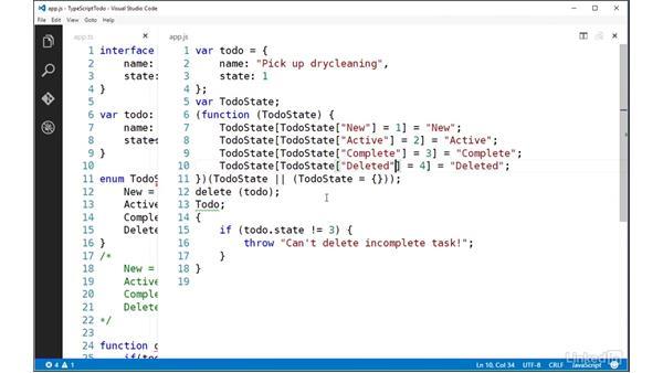 Defining constant values with enums: TypeScript Essential Training