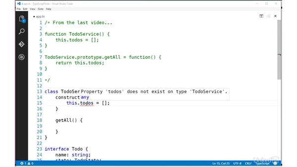 Defining a class: TypeScript Essential Training
