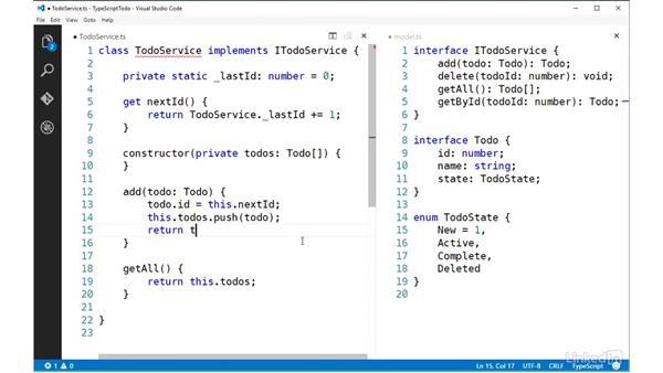 Implementing interfaces: TypeScript Essential Training