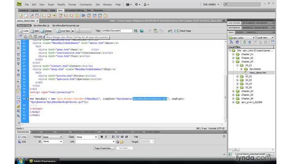 Examining the Spry menu bar widget: Dreamweaver CS4: Introduction to Spry