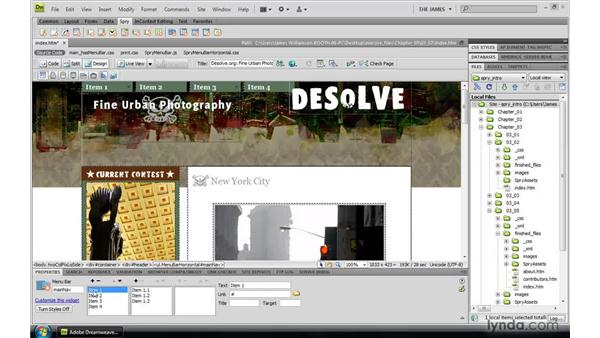 Inserting the Spry menu bar: Dreamweaver CS4: Introduction to Spry