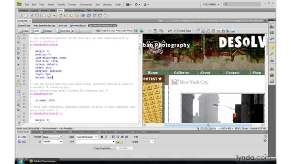Styling menu bar placement: Dreamweaver CS4: Introduction to Spry
