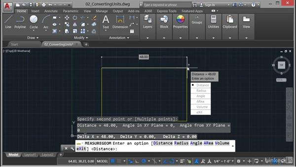 Converting drawing units: AutoCAD 2017 Essential Training