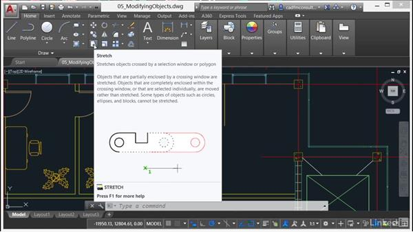 Using Stretch and Lengthen: AutoCAD 2017 Essential Training