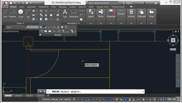 Using Break and Join: AutoCAD 2017 Essential Training