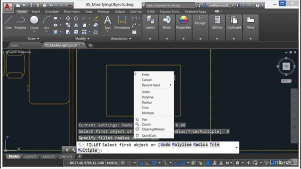 Using Fillet and Chamfer: AutoCAD 2017 Essential Training