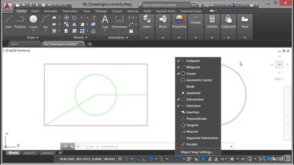 Using object snaps: AutoCAD 2017 Essential Training