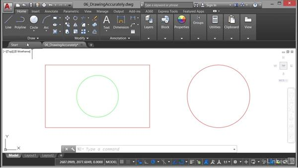Using object-snap tracking: AutoCAD 2017 Essential Training