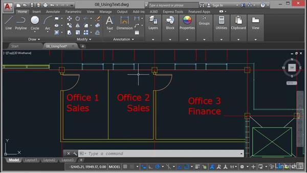 Aligning text: AutoCAD 2017 Essential Training