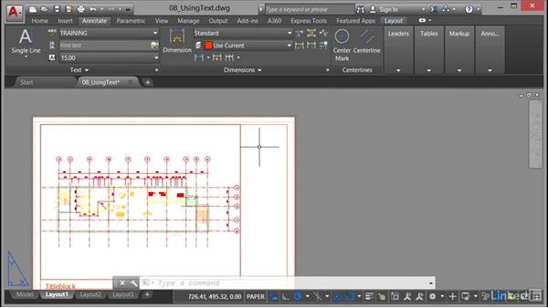 Framing text in a title block: AutoCAD 2017 Essential Training