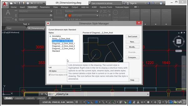 Working with dimension styles: AutoCAD 2017 Essential Training