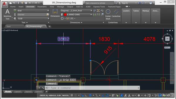 Editing dimensions and dimension overrides: AutoCAD 2017 Essential Training
