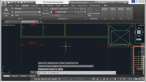 Baseline dimensions: AutoCAD 2017 Essential Training