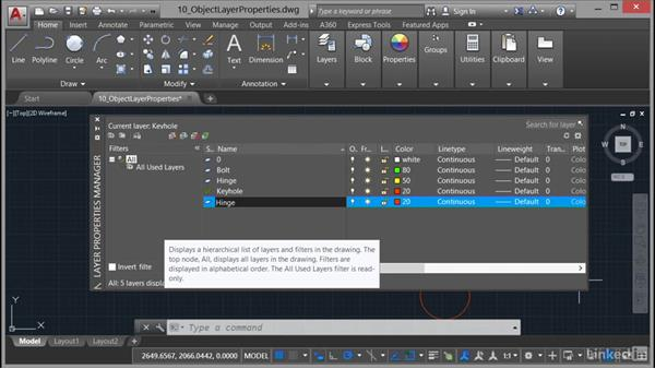 New layers and the Layer dropdown menu: AutoCAD 2017 Essential Training