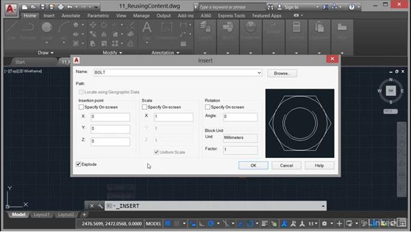 Using the Explode command: AutoCAD 2017 Essential Training