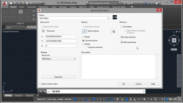 Creating a block with attributes: AutoCAD 2017 Essential Training