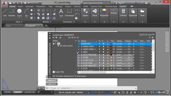 Creating a layout and adding a viewport: AutoCAD 2017 Essential Training