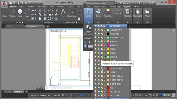 Freezing viewport layers: AutoCAD 2017 Essential Training