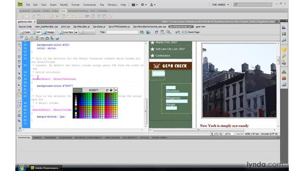 Styling master/detail regions: Dreamweaver CS4: Introduction to Spry