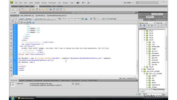 Using Excel spreadsheets to build datasets: Dreamweaver CS4: Introduction to Spry