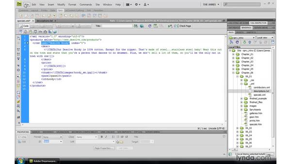Writing XML: Dreamweaver CS4: Introduction to Spry