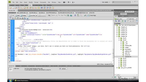 Coding widget structure: Dreamweaver CS4: Introduction to Spry