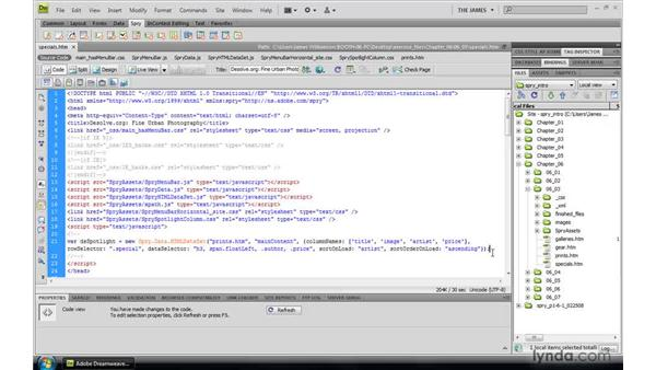 Constructing Spry datasets through code: Dreamweaver CS4: Introduction to Spry