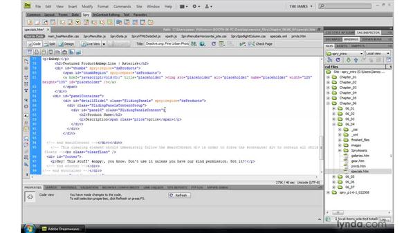 Defining Spry regions and data references: Dreamweaver CS4: Introduction to Spry