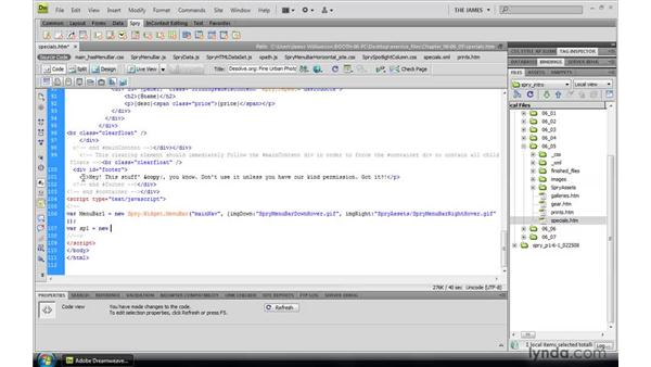 Constructing Spry widgets through code: Dreamweaver CS4: Introduction to Spry