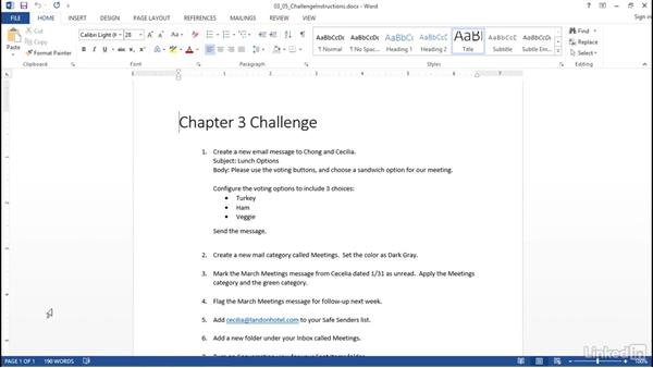 Challenge: Manage messages: Outlook 2013: Prepare for the Microsoft Office Specialist Certification Exam (77-423)