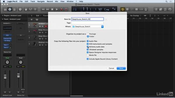 Saving a project: Producing Electronic Music in Logic Pro