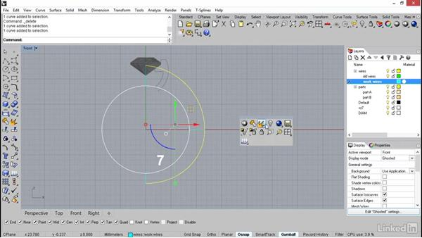 Sketching out the lines of the shank: Oval stone ring: Rhino: Learn Basic Jewelry Modeling