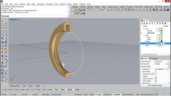 Combining the bezel to the shank: Rhino: Learn Basic Jewelry Modeling