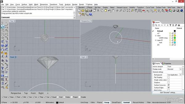 Importing the stone and ring size curve: Rhino: Learn Basic Jewelry Modeling