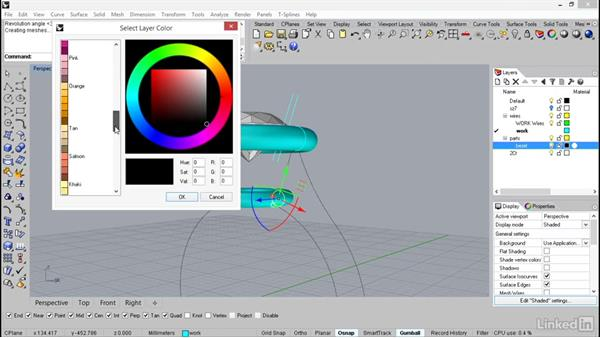Revolving the curves to make the center section: Rhino: Learn Basic Jewelry Modeling