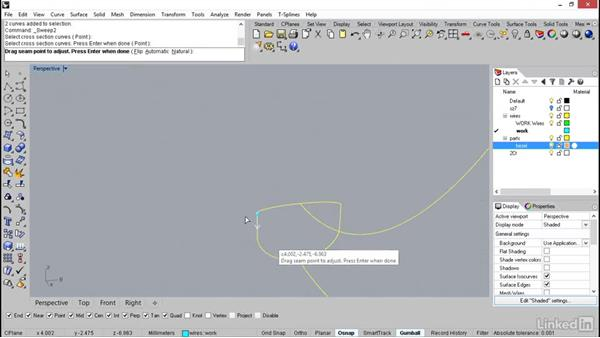 Using sweep to make the shank surface: Rhino: Learn Basic Jewelry Modeling