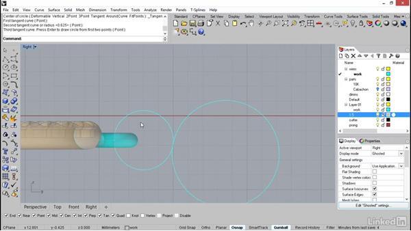 Building the earring hook: Rhino: Learn Basic Jewelry Modeling